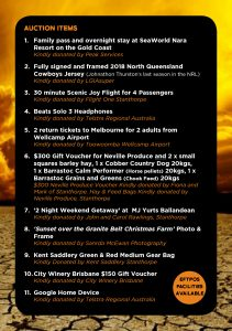 Auction List Stanthorpe Drought Fundraiser 2019